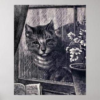"""""""Gato en ejemplo del vintage de la ventana"""" Póster"""