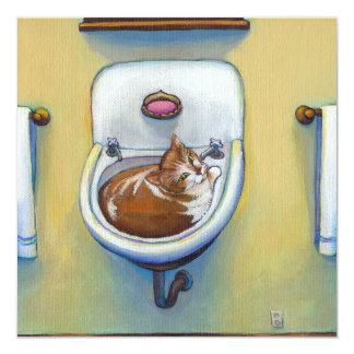 Gato en el arte caprichoso feliz de la diversión invitación 13,3 cm x 13,3cm