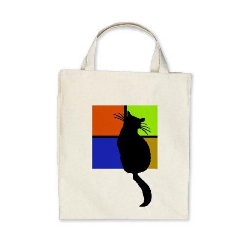 Gato en el bolso coloreado de Windows Bolsas