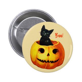Gato en el botón de Halloween del vintage de la ca Pin Redondo De 2 Pulgadas