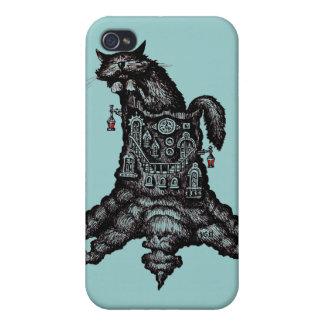 Gato en el caso del iphone del arte del dibujo grá iPhone 4 carcasas