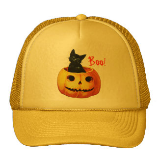 Gato en el gorra de Halloween de la calabaza