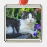 Gato en el jardín ornamento para reyes magos