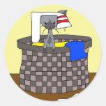 Gato en el lavadero (resuelva maúlla) etiqueta redonda