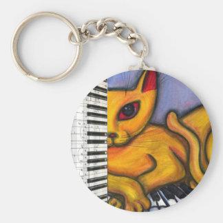 Gato en el teclado de piano llaveros personalizados