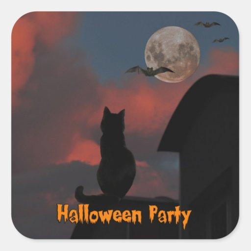 Gato en el tejado con una Luna Llena Halloween Calcomania Cuadradas Personalizadas