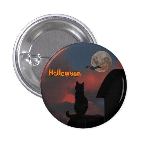 Gato en el tejado con una Luna Llena Halloween Pins