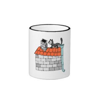 Gato en el tejado taza de dos colores