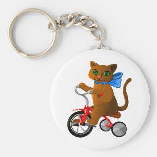 Gato en el triciclo llavero