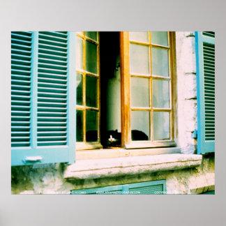 Gato en el Window JSKFR003 Poster