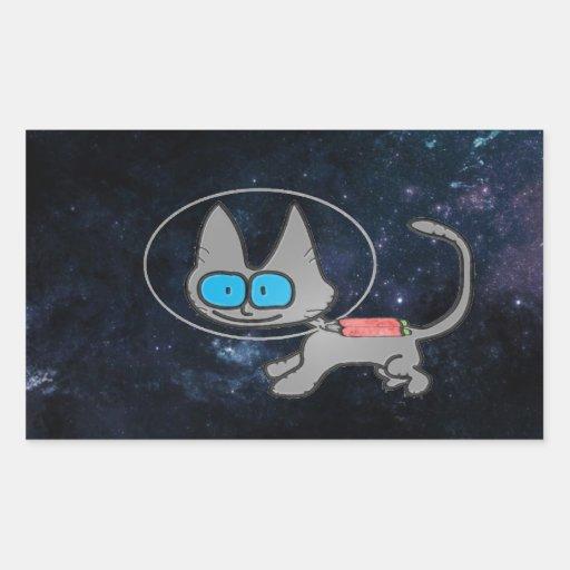 Gato en espacio con su Jetpack encendido Rectangular Pegatina