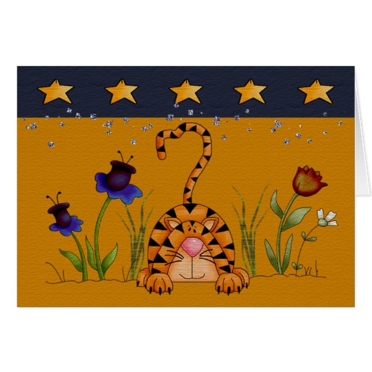 gato en flores tarjeta de felicitación