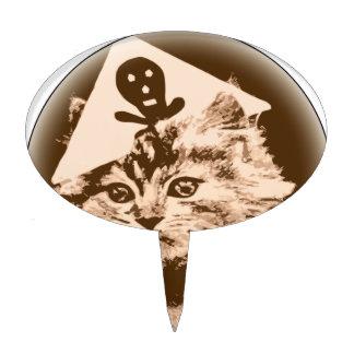 Gato en gorra del pirata figuras de tarta