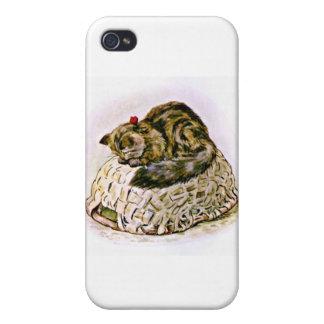 Gato en ilustraciones de la cesta iPhone 4 carcasa
