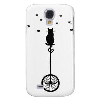 gato en la bicicleta del vintage con los pájaros funda para galaxy s4