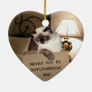 Gato en la caja Himalayan Adorno Navideño De Cerámica En Forma De Corazón
