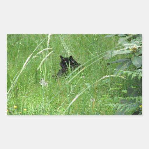 Gato en la hierba pegatina rectangular