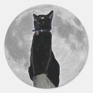 Gato en la luna pegatina redonda