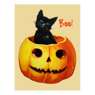 Gato en la postal de Halloween del vintage de la c