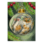 Gato en la tarjeta del ornamento del navidad