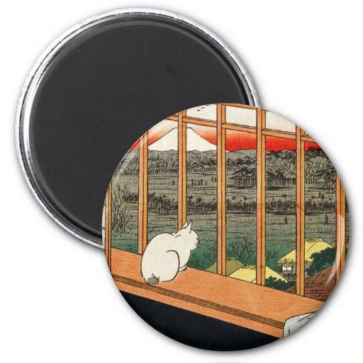 Gato en la ventana - arte japonés por el 歌川広重 de H Imán Redondo 5 Cm