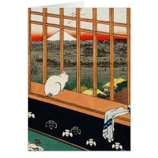 Gato en la ventana (detai) por el 歌川広重 de Utagawa Tarjeton