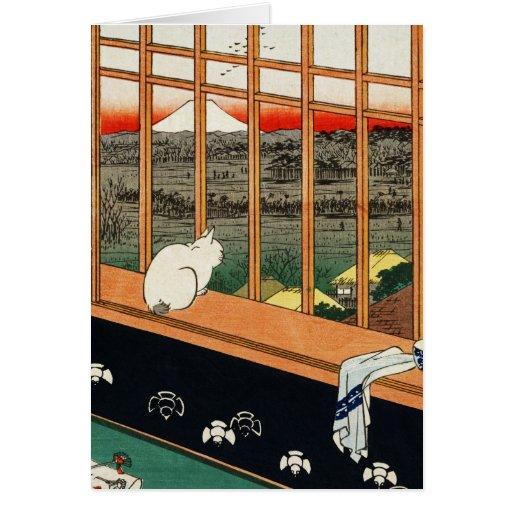 Gato en la ventana (detai) por el 歌川広重 de Utagawa Tarjeta De Felicitación