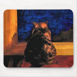 Gato en la ventana tapetes de ratones