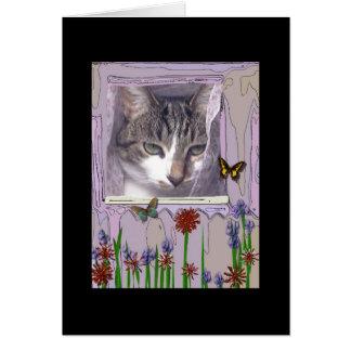 Gato en la ventana tarjeta de felicitación