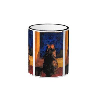 Gato en la ventana taza de dos colores