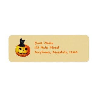 Gato en las etiquetas de Halloween del vintage de  Etiqueta De Remite