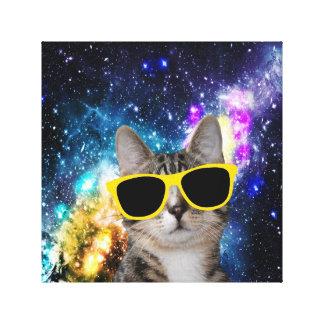 Gato en lona envuelta del espacio exterior impresión en tela