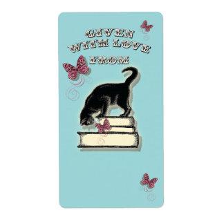 Gato en los libros dados con Bookplate del amor Etiquetas De Envío