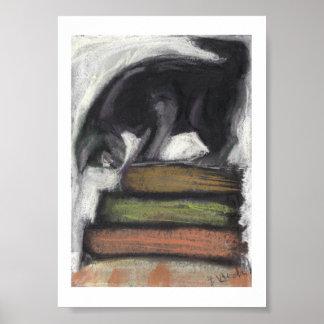 Gato en los libros - impresión de la pintura en co póster