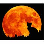 Gato en luna anaranjada llena escultura fotografica