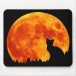 Gato en luna anaranjada llena tapete de ratón