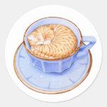 Gato en pegatina del café