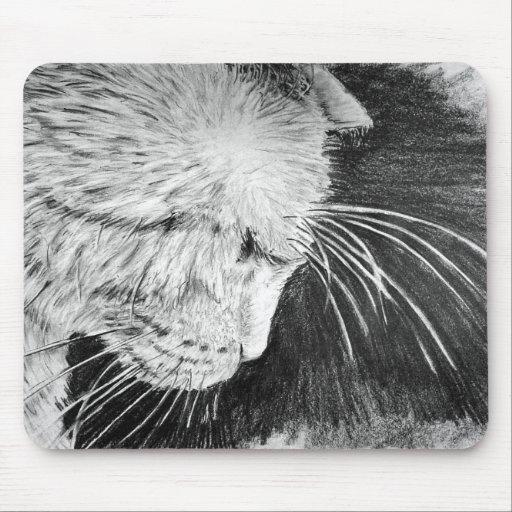 Gato en perfil alfombrilla de ratón