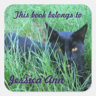 Gato en placa de libro de encargo de la hierba pegatina cuadrada