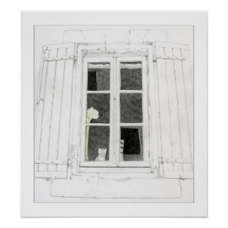 Gato en poster de la ventana póster