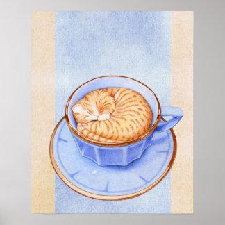 Gato en poster del café póster