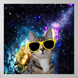 Gato en poster del espacio exterior