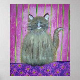 gato en poster rosado del sitio