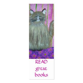 Gato en señal rosada del sitio tarjetas de visita mini