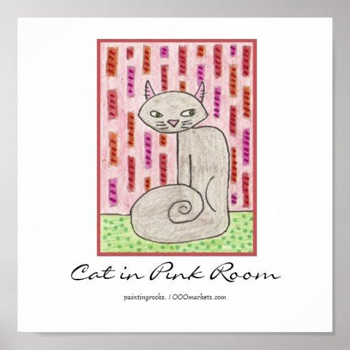 Gato en sitio rosado posters
