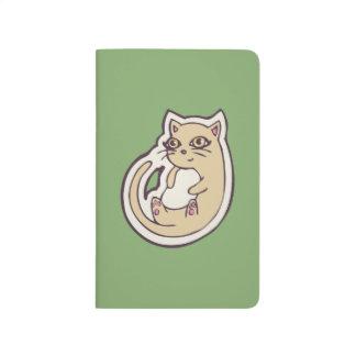 Gato en su diseño blanco lindo trasero del dibujo cuaderno grapado