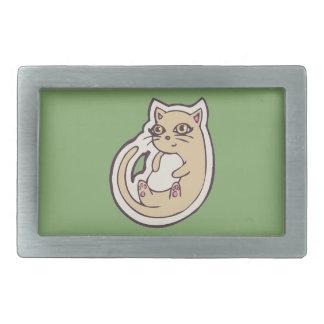 Gato en su diseño blanco lindo trasero del dibujo hebilla cinturon rectangular