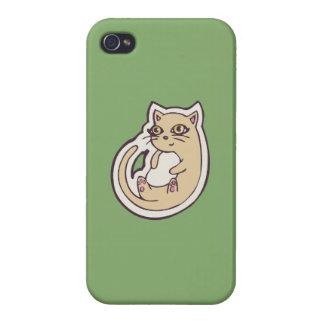 Gato en su diseño blanco lindo trasero del dibujo iPhone 4 carcasas
