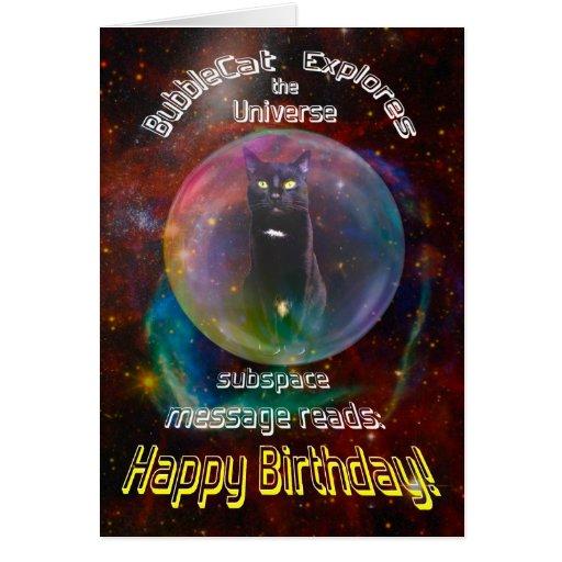 Gato en tarjeta de cumpleaños del espacio