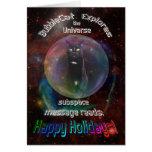 Gato en tarjeta de Navidad del espacio